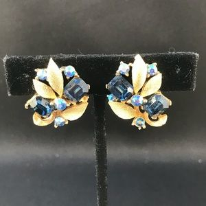 Vintage Lisner gold and blue clip earrings